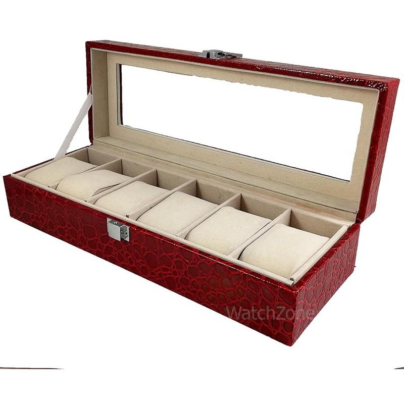 cutie-depozitare-ceasuri-rosie-6-spatii-