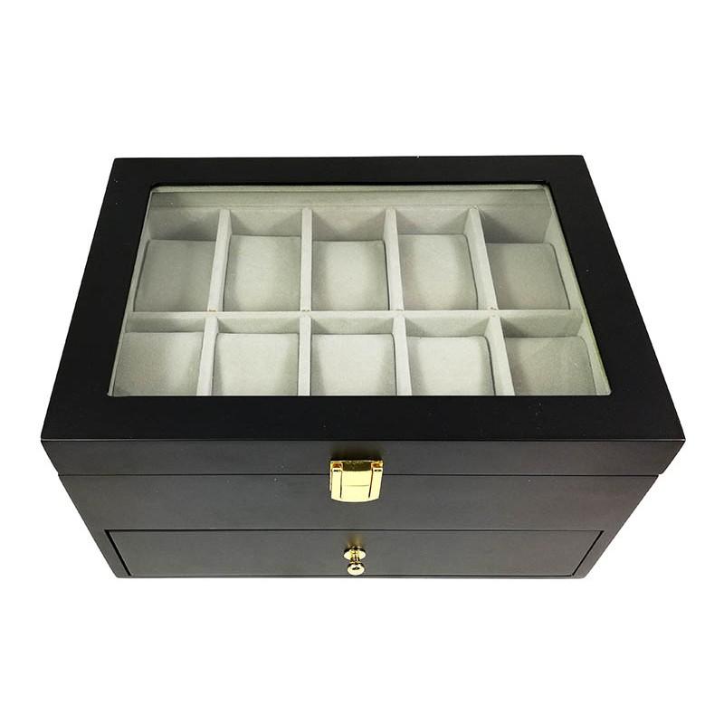 caseta-depozitare-ceasuri-20-spatii-neagra-din-lemn-cdl024