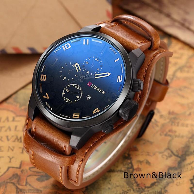 ceas-barbatesc-curren-original-negru-curea-maro