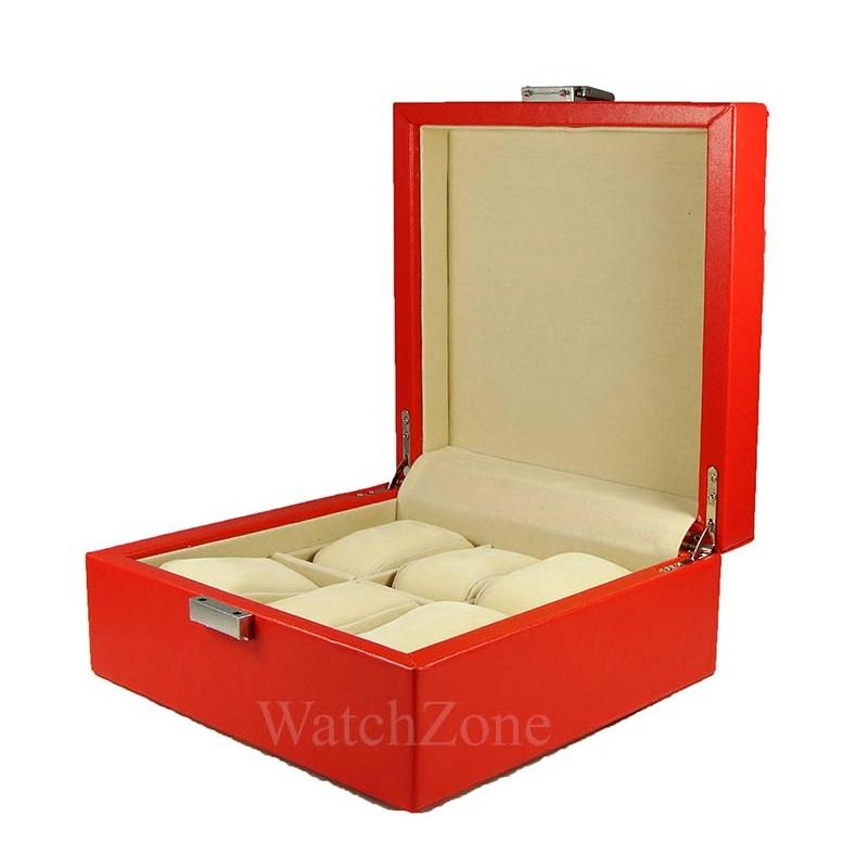 cutie-depozitare-6-ceasuri-piele-rosie